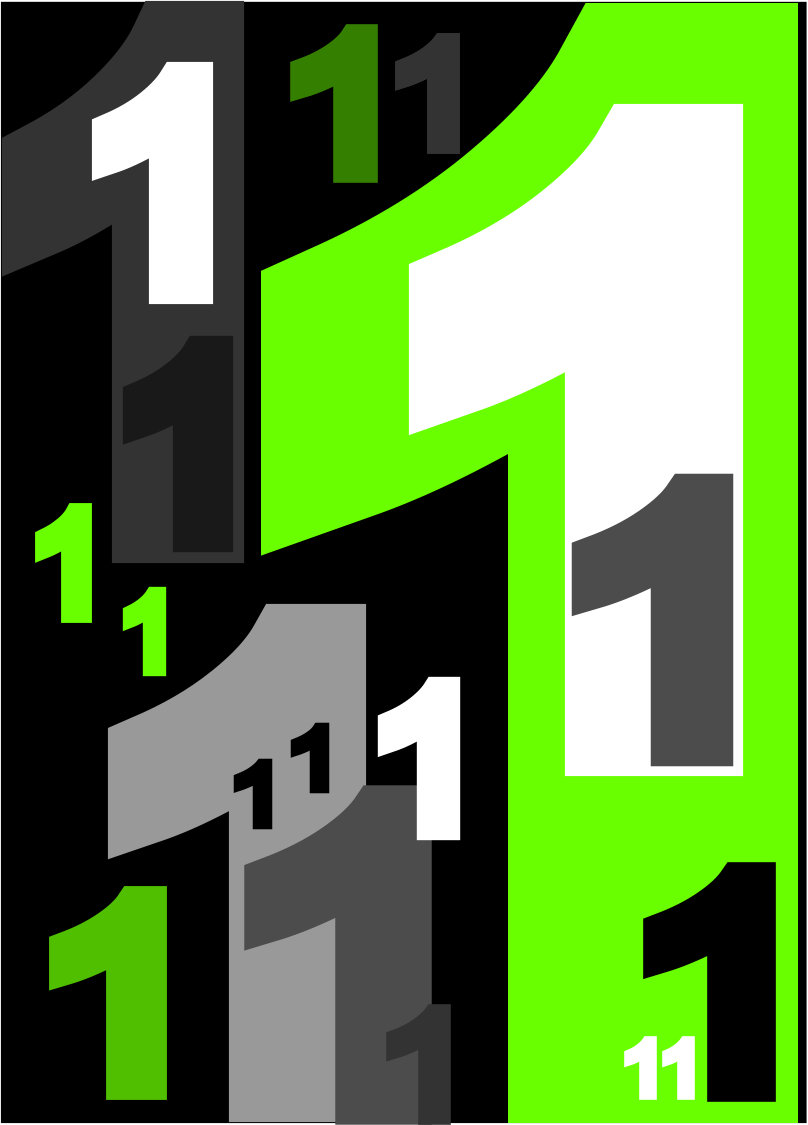 1 poster - poster in white black and green with 1s on it