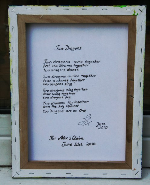 2 Dragons painting wedding gift back - 2 dragons poem by SFX