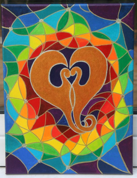 2 Dragons Painting Heart Shape Wedding Gift Painting
