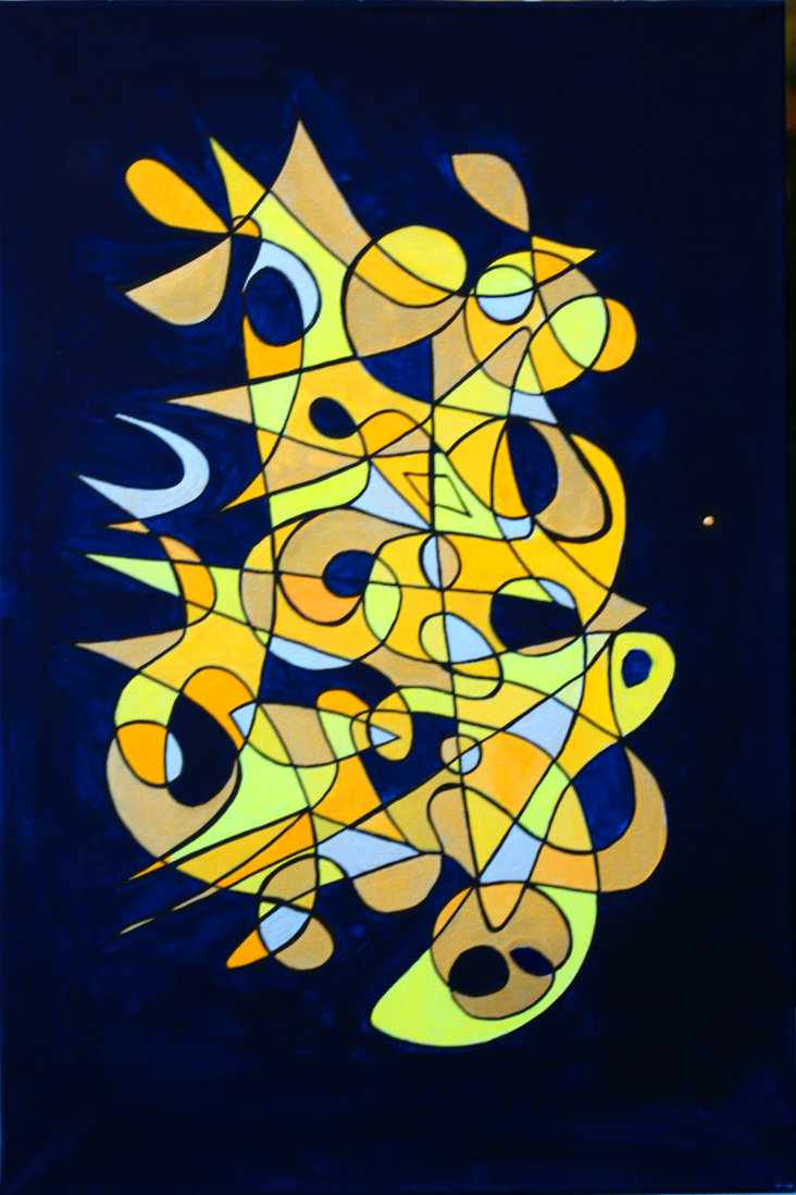 Symbol Painting In Gold & Blue