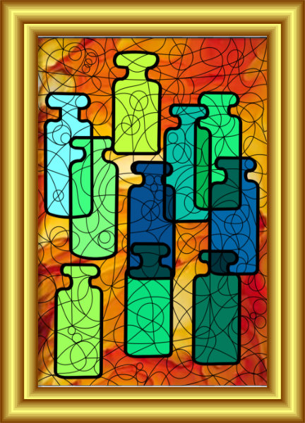 Messages In Bottles Symbol Hybrid Painting by Silvia Hartmann