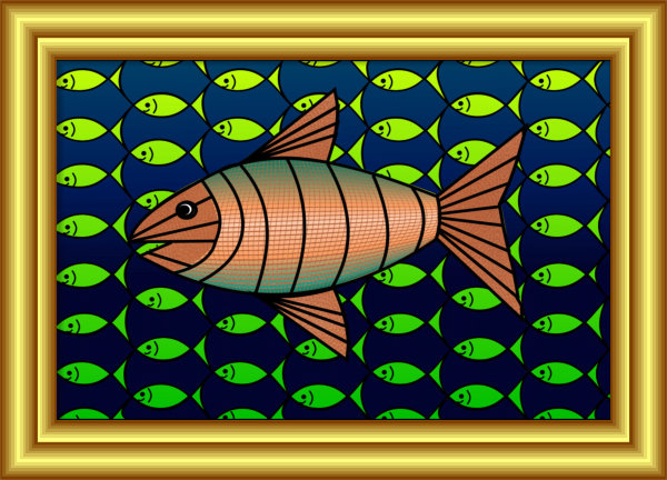 Interlacement with Fish Painting by Silvia Hartmann