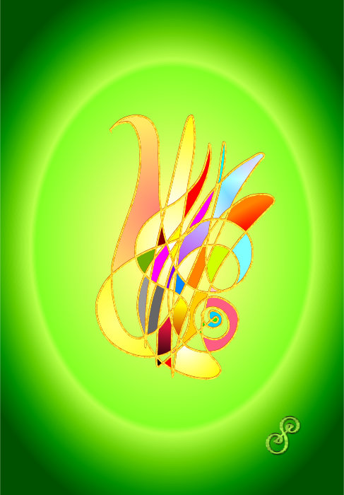 Abstract Art Solutions Energy Art Symbol painting in green by Silvia Hartmann