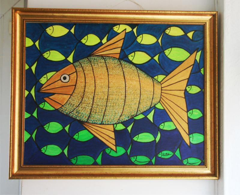 Interlacement with Fish painting hanging on the wall
