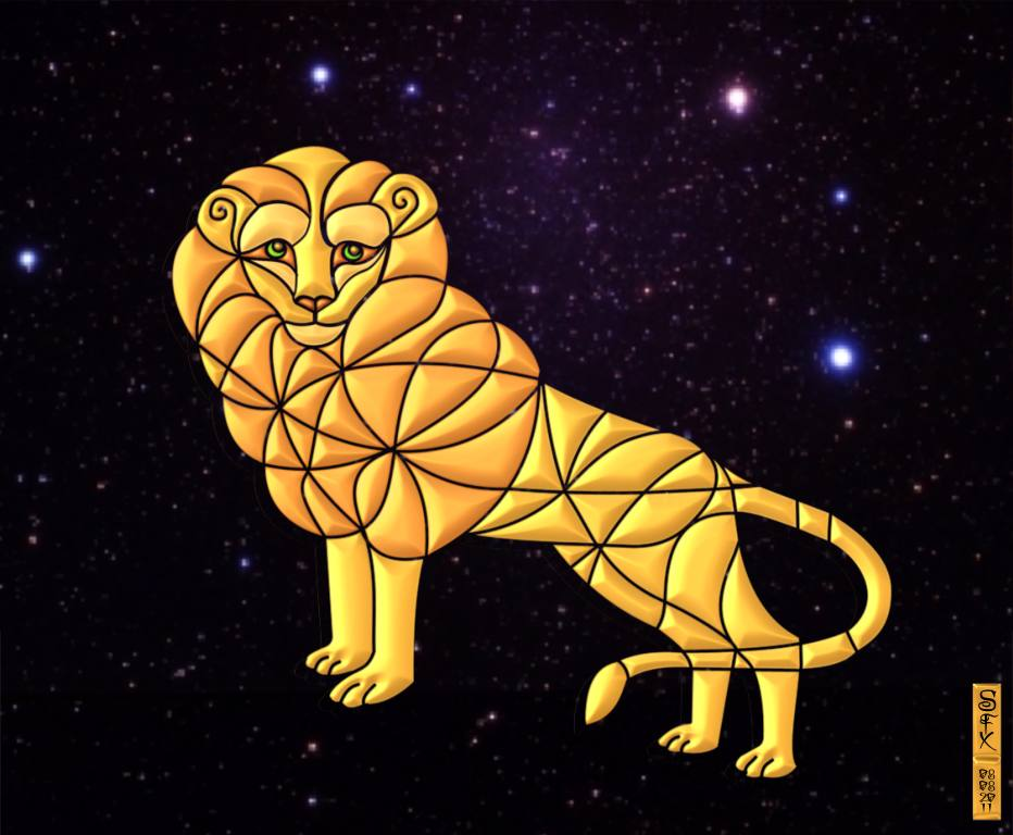 Leo Star Sign With Constellations based on Leo Symbol Hybrid Painting
