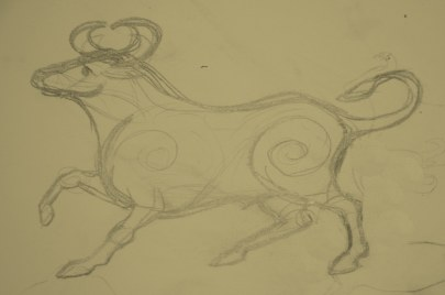 Taurus original drawing for the Taurus the Bull design by StarFields