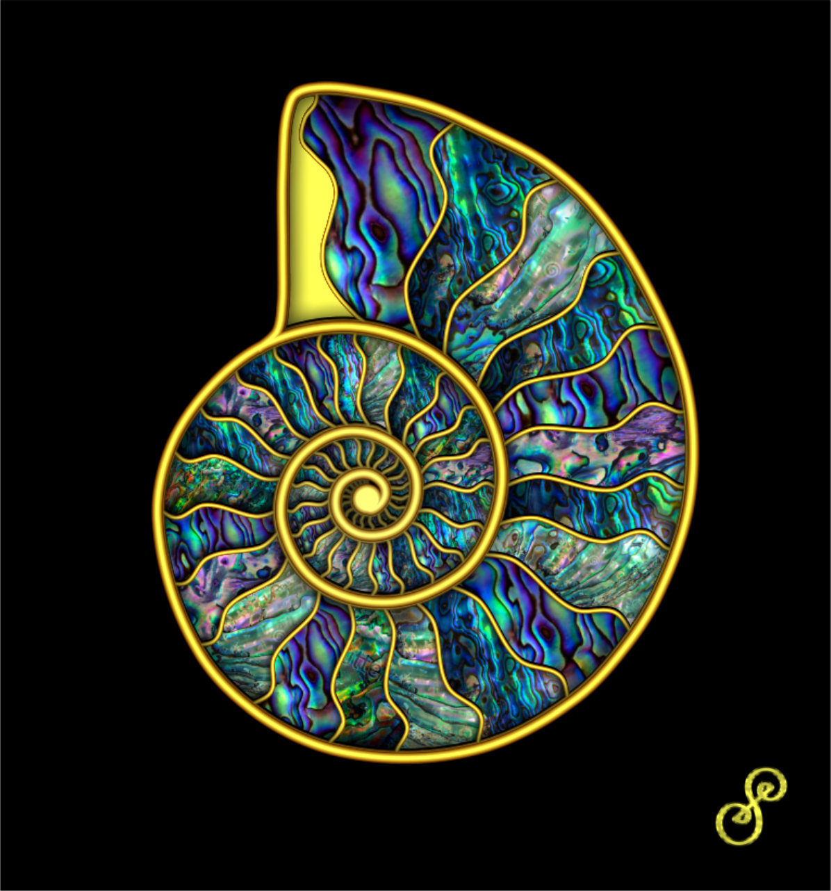 Ammonite in Abalone & Gold