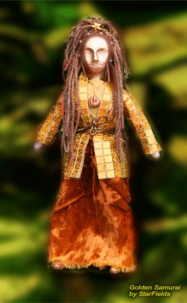 Golden Samurai Art Doll by Silvia Hartmann