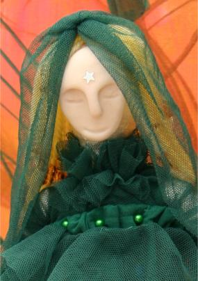 Art Doll Spirit Doll Swamp Witch Closeup