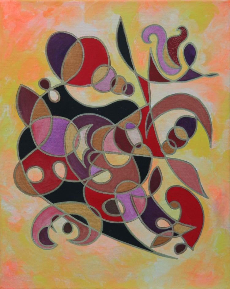 Meditations On Gold, Red & Black symbol painting by Silvia Hartma