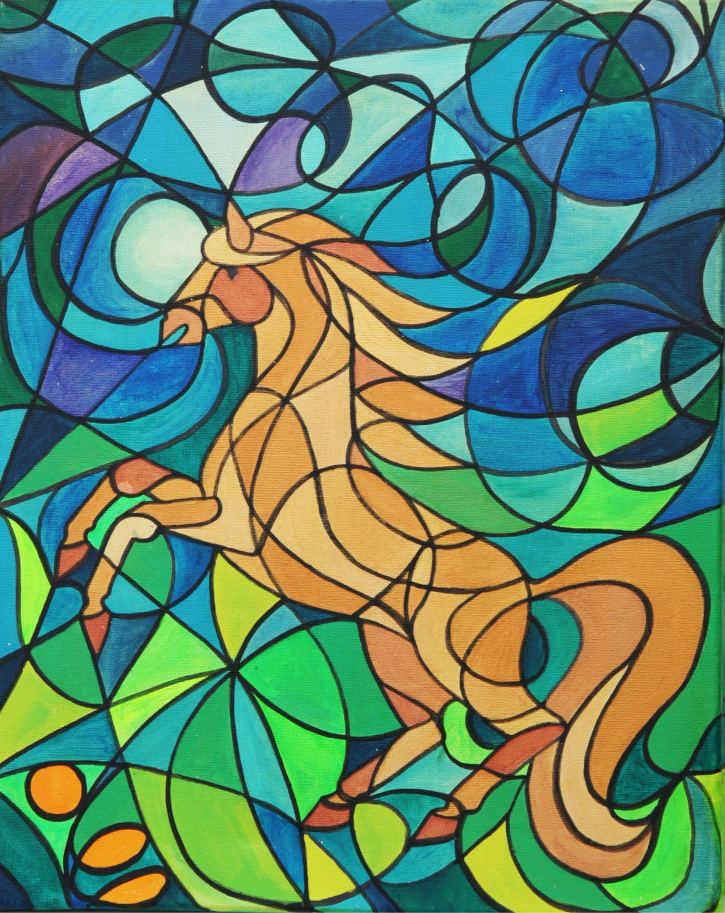 Original Golden Horse Painting by Silvia Hartmann