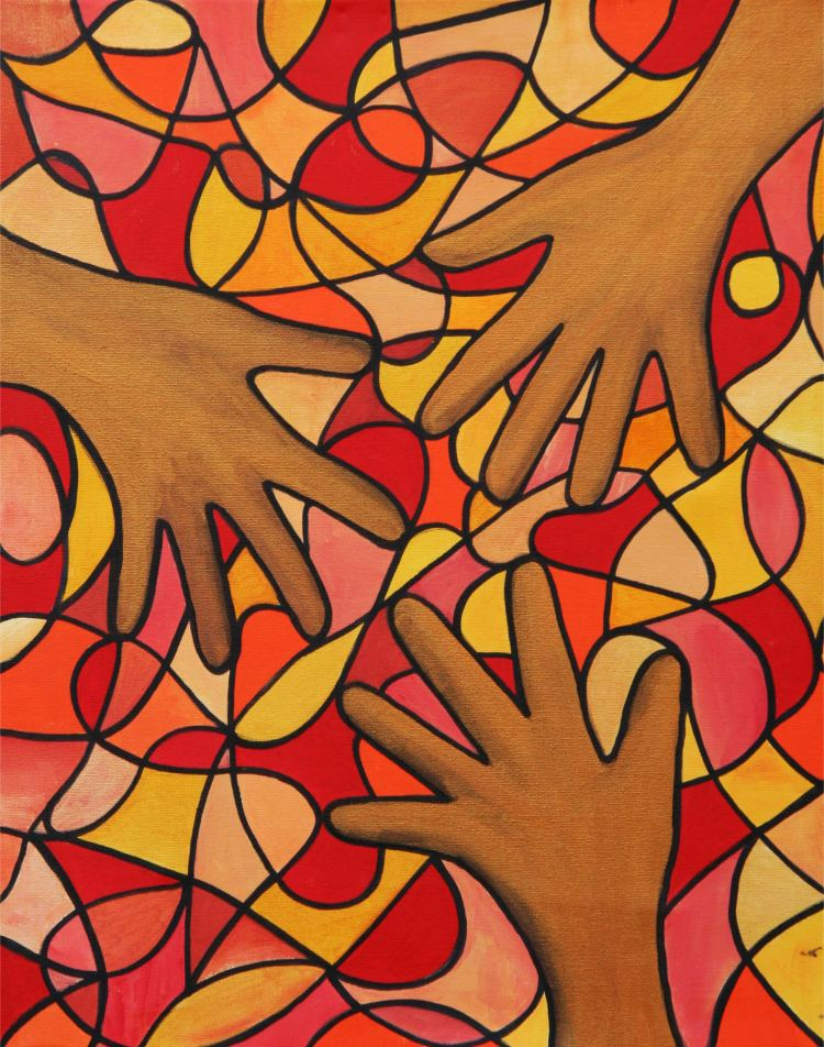 Healing Hands Symbol Hybrid Painting by Silvia Hartmann