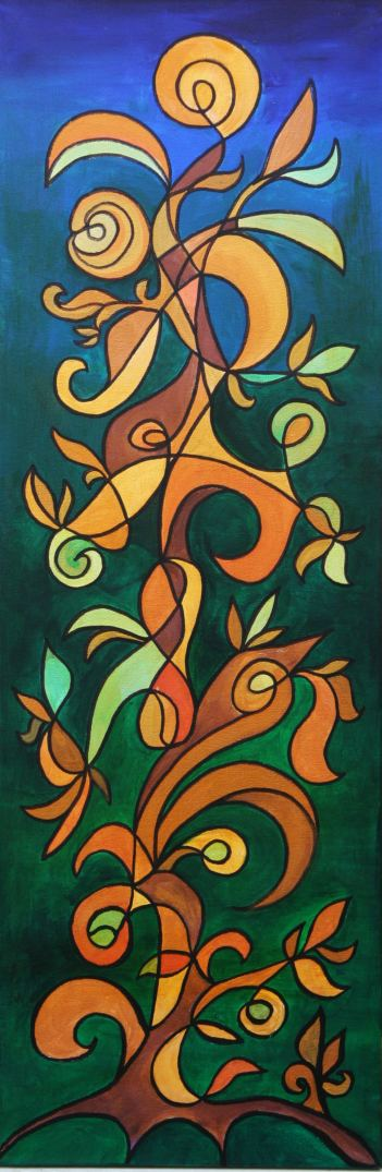 Meditations in green and gold/money tree Symbol Painting by Silvia Hartmann