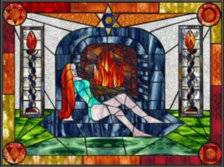 Fire stained glass design by Silvia Hartmann 2002