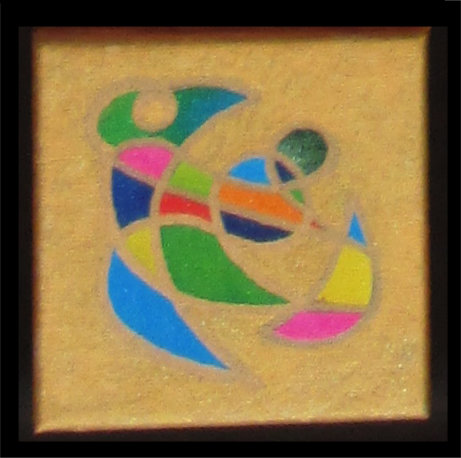 New Beginnings symbol painting on gold, art spell by silvia hartmann