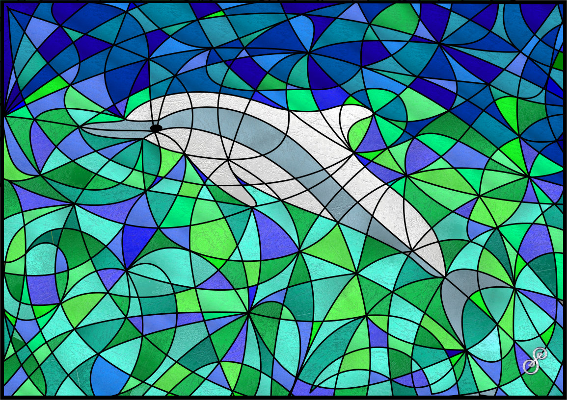 Dolphin - Symbol Hybrid Painting by Silvia Hartmann