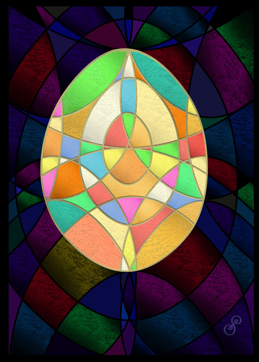 Colourful geometric egg on a dark background vector drawing by Silvia Hartmann