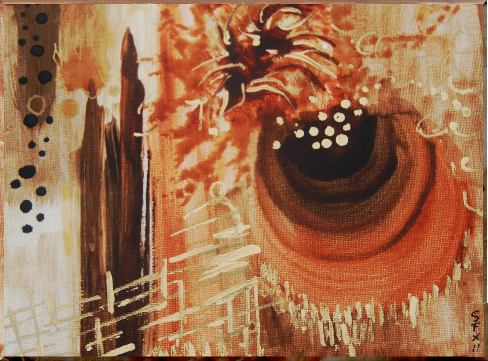 Abstract painting in golden and brown tones