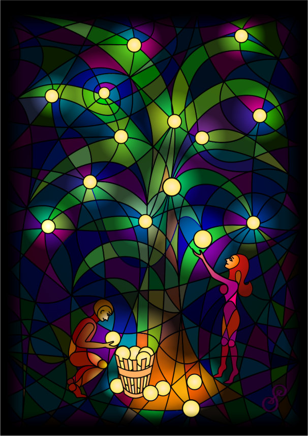 Man and Woman Harvesting From The Tree of Lights by Silvia Hartmann