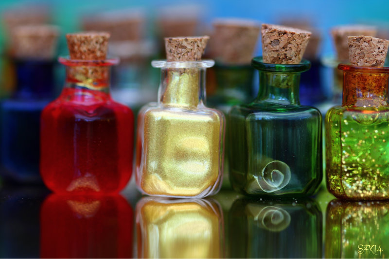 Magic Potion Bottles close up