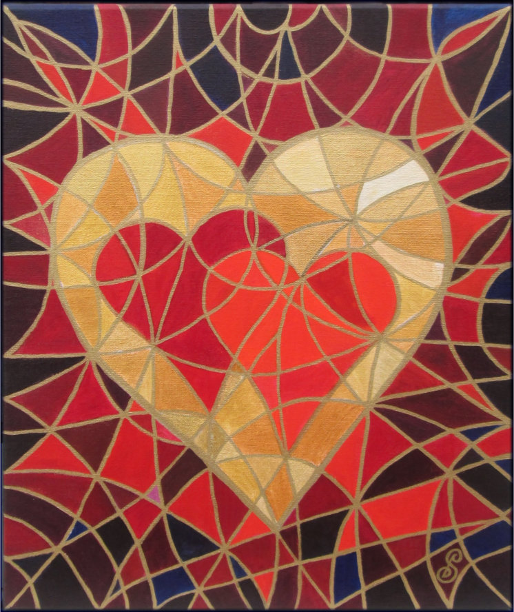 """Make Love Your Goal"" Symbol Hybrid Painting by Silvia Hartmann"
