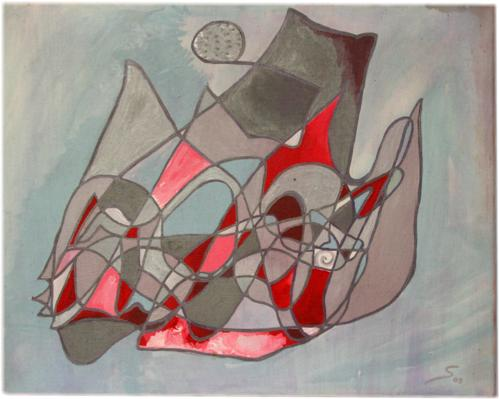 Energy Art Symbol Painting in silver, red and grey