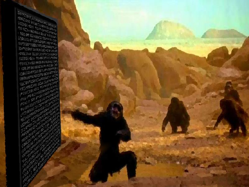 black stone and monkey men from 2001 a space odessey