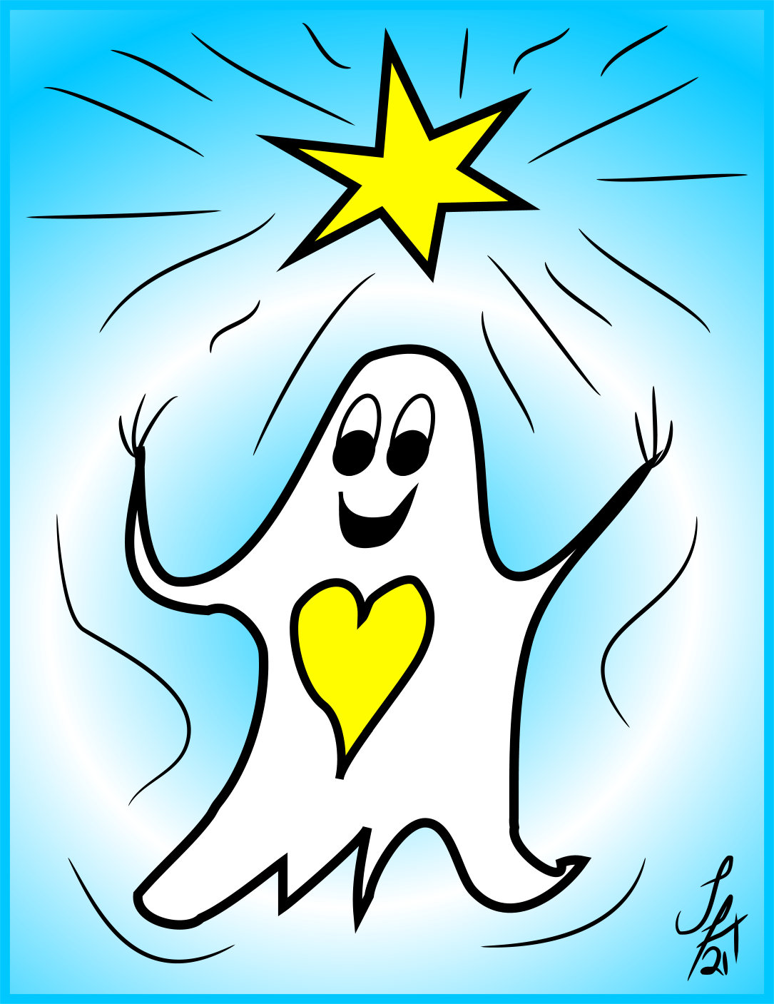 A very happy ghost who has just remembered a Star Memory!