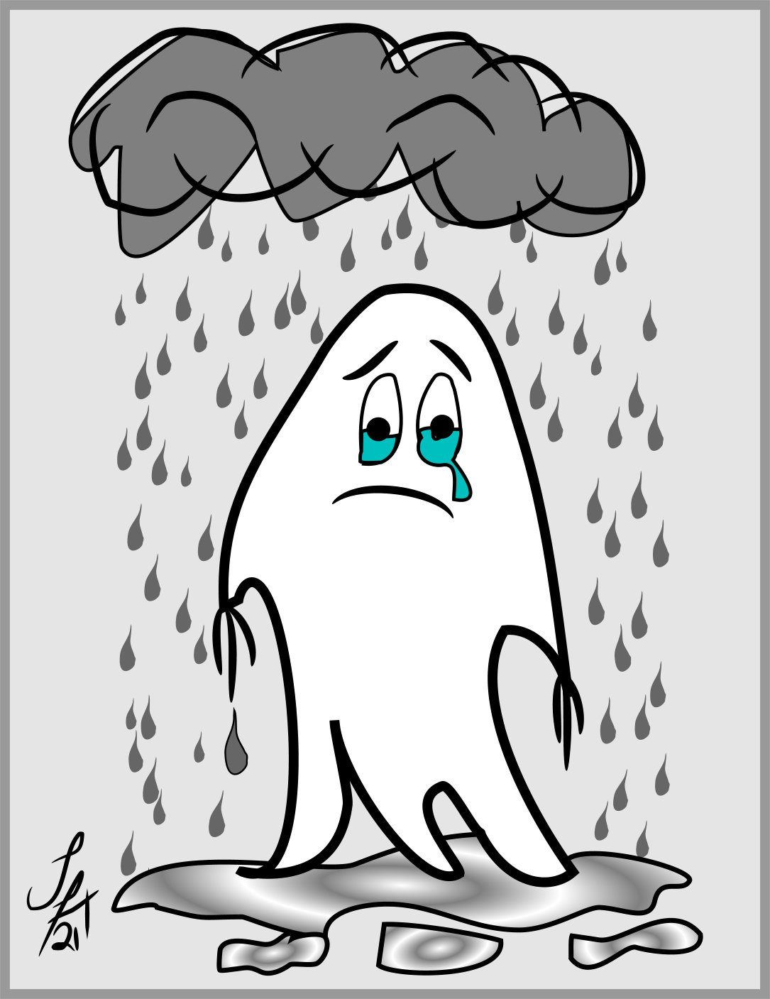 Poor me! illustration by Silvia Hartmann - crying in the rain under a thundercloud whilst standing in a puddle