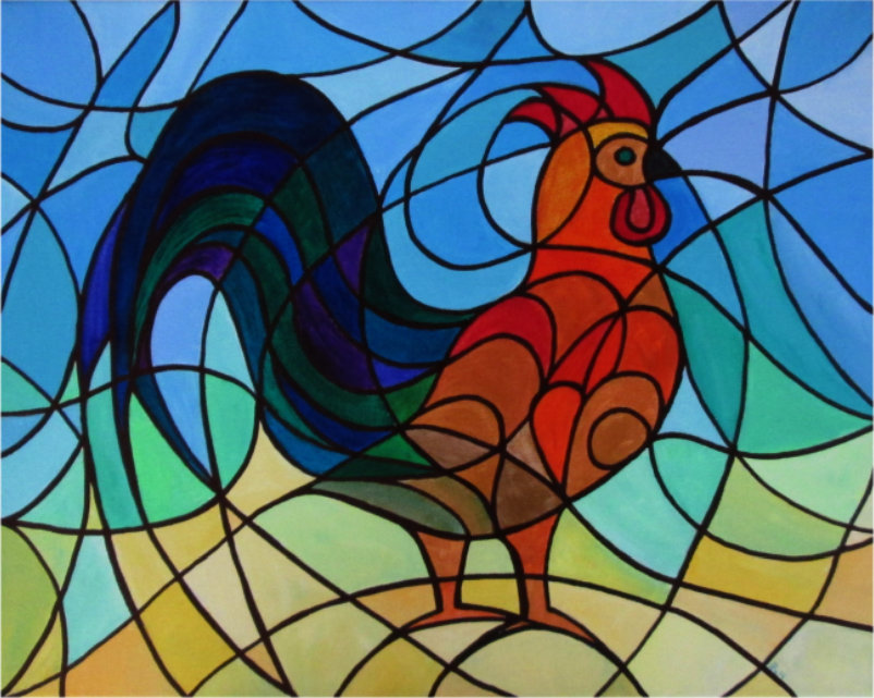 Original Rooster Painting by Silvia Hartmann