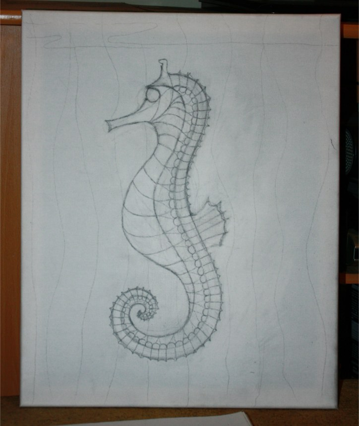 Seahorse original pencil drawing Silvia Hartmann March 2012