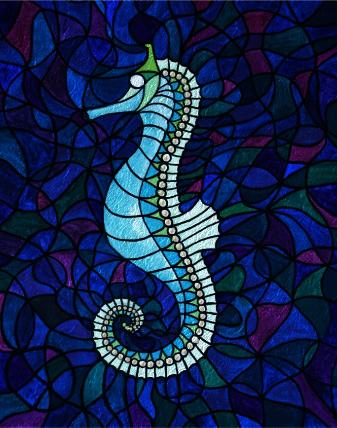 Seahorse symbol hybrid painting Silvia Hartmann March 2012
