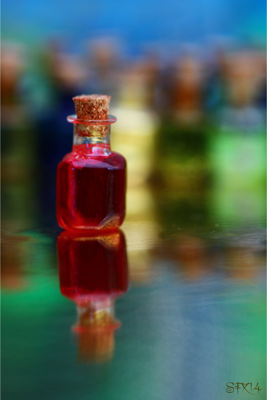 Red Spell Bottle In Front