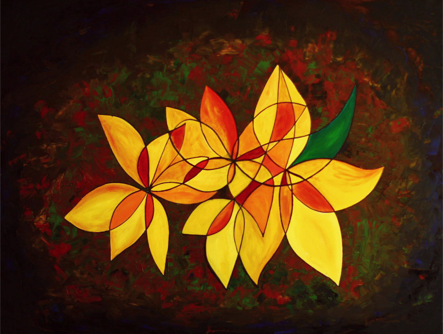 Energy painting abstract sunflowers on a dark background