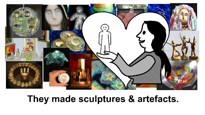 They made lots of sculptures and artefacts
