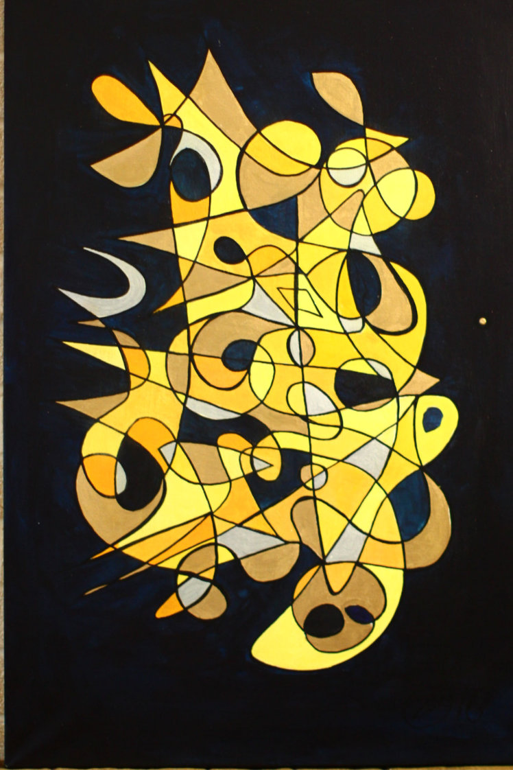 Symbol Painting In Gold & Blue by Silvia Hartmann Portrait orientation