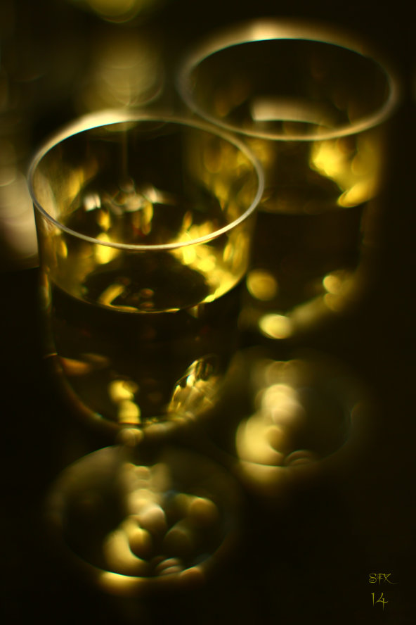 White Wine For Two - Two glasses of white wine dark background photograph by silvia hartmann